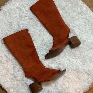 Zara Open Toe Suede Boots Back Zip
